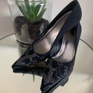 Stuart Weitzman Satin Embellished high heels black